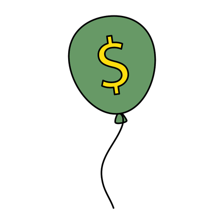 Balloons air party with dollars sign vector illustration design. Illustration