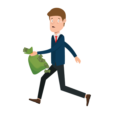 businessman sad with money sack avatar character vector illustration design