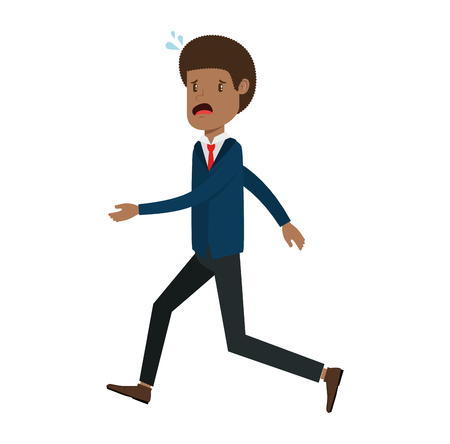 Businessman sad running avatar character vector illustration design