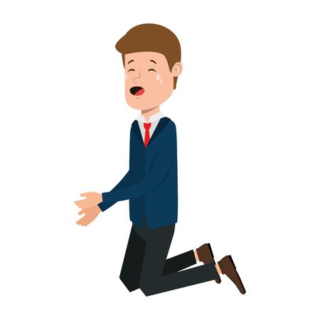 Businessman sad knees avatar character vector illustration design