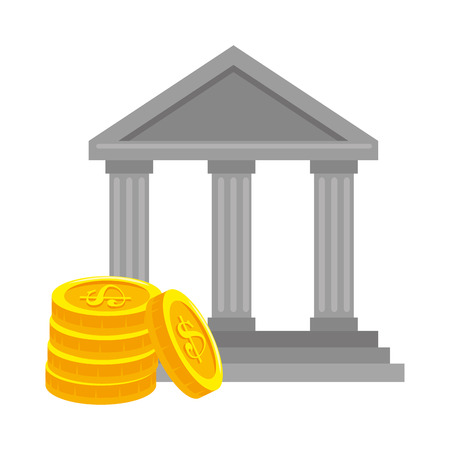 Bank, building with coins vector illustration design.