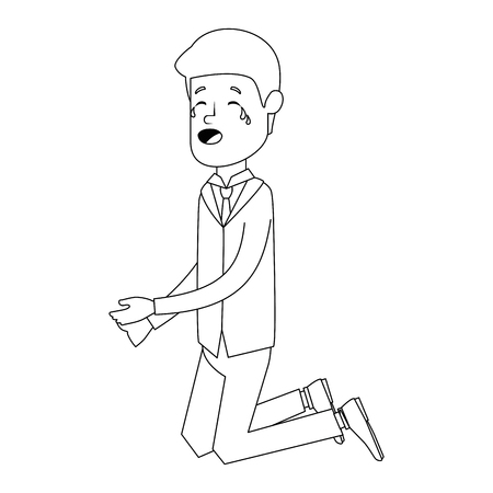 Businessman sad knees avatar character vector illustration design.