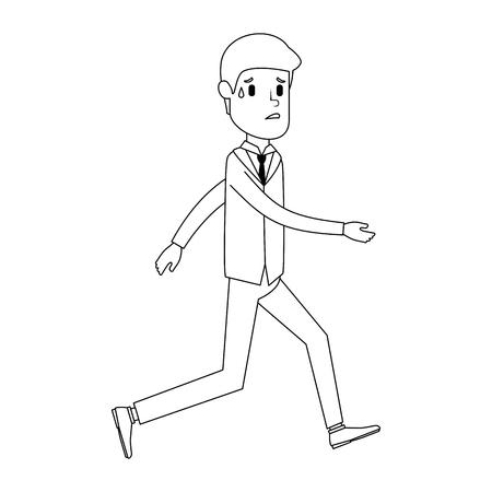 Businessman sad running avatar character vector illustration design. Ilustração