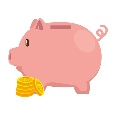 Piggy savings with coins vector illustration design.