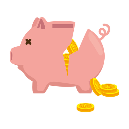 Piggy savings broken with coins vector illustration design.