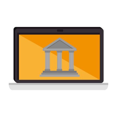Laptop computer with bank building vector illustration design.