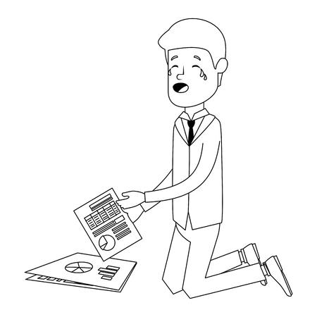 Businessman sad with documents financials avatar character vector illustration.