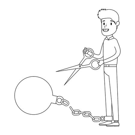 Businessman sad with slave shackle and scissors vector illustration design. Illustration