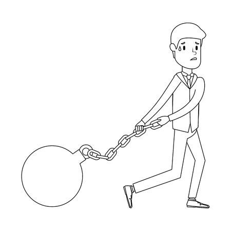Businessman sad avatar slave shackle character vector illustration design