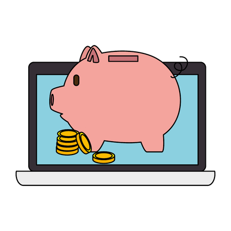 Piggy savings with laptop and coins vector illustration design Standard-Bild - 101075166