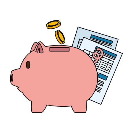 Piggy savings with coins and documents vector illustration design Standard-Bild - 101075163