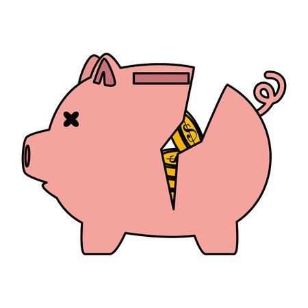piggy savings broken with coins vector illustration design