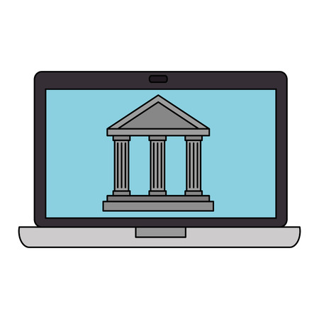 laptop computer with bank building vector illustration design