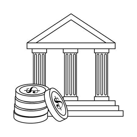 Bank building with coins vector illustration design. Illustration