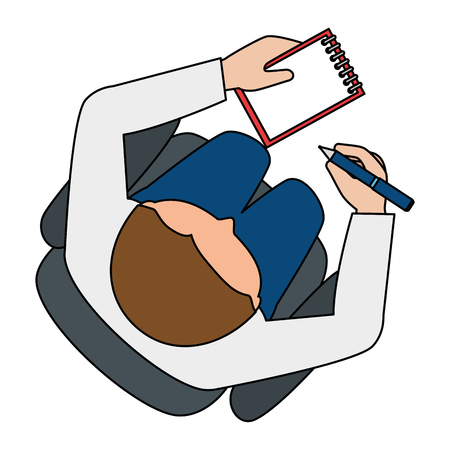 Man writing in office notebook with pen vector illustration design.