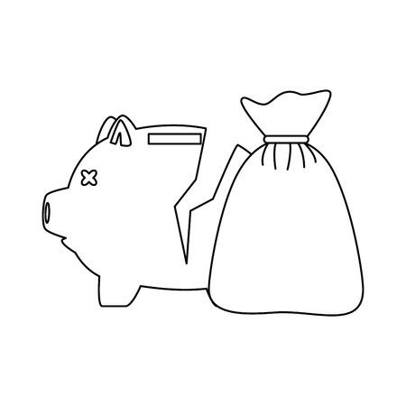 Piggy savings broken with money sack vector illustration design.