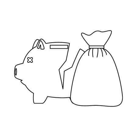 Piggy savings broken with money sack vector illustration design.