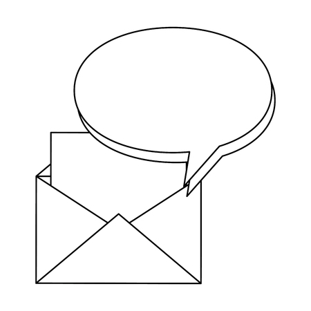 Envelope mail with financial document and speech bubble vector illustration. Illustration