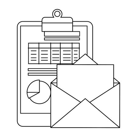 Envelope mail with financial document vector illustration design.