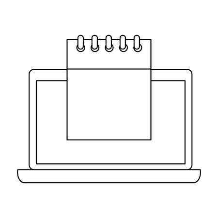 Laptop with calendar reminder vector illustration design.