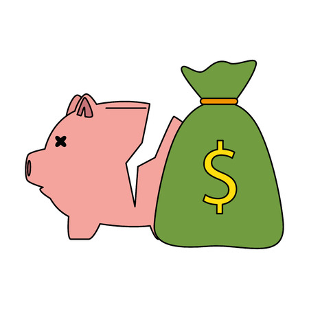piggy savings broken with money sack vector illustration design 일러스트