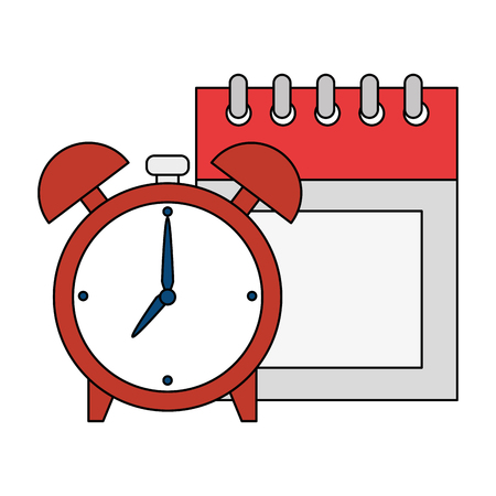 calendar reminder with alarm clock vector illustration design