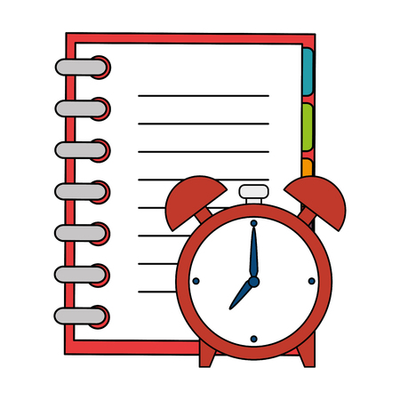 notebook school with alarm clock vector illustration design