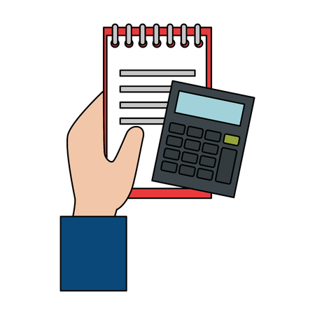hand with document and calculator vector illustration design Illustration