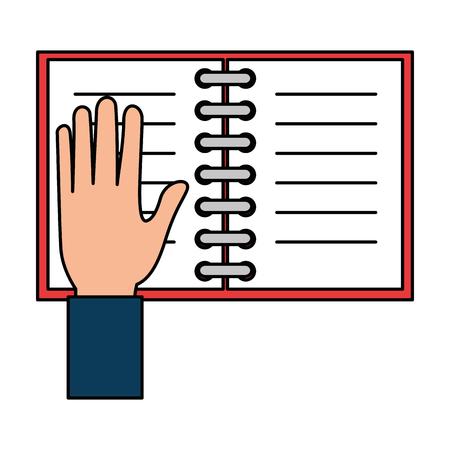 hand with notebook school vector illustration design