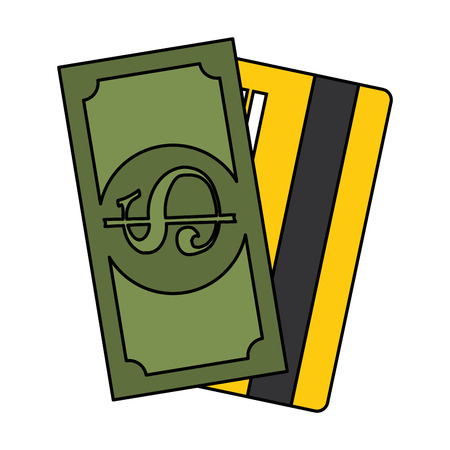 bill dollar with credit card vector illustration design Stock Vector - 101078080