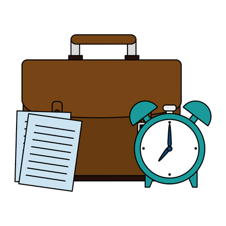 portfolio with documents and alarm clock vector illustration design Stock Illustratie