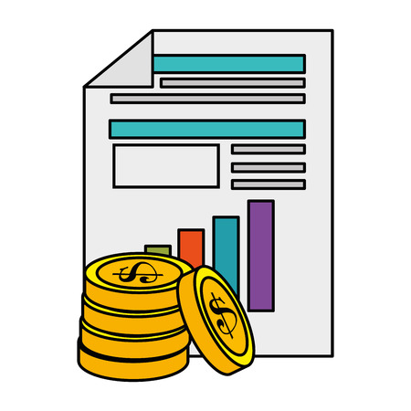 finance document with coins vector illustration design