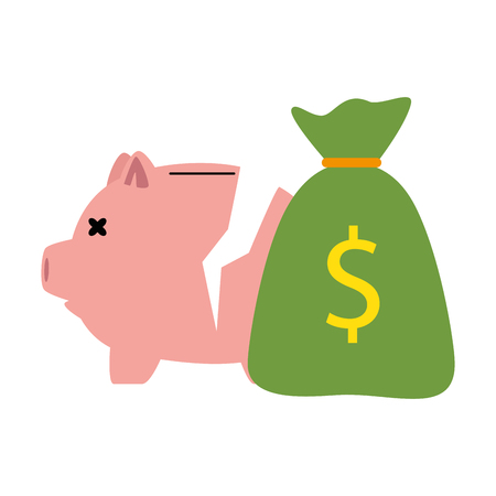 Hand drawn piggy savings broken with money sack vector illustration design