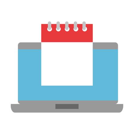 Hand drawn laptop with calendar reminder vector illustration design