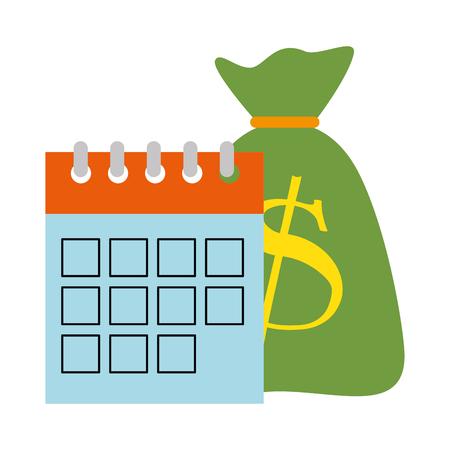 calendar reminder with bag money vector illustration design Illustration