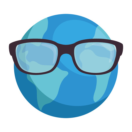 world planet earth with glasses vector illustration design Illustration