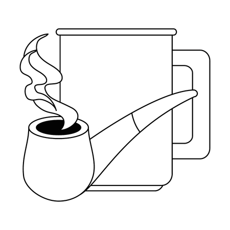 coffee cup with pipe wooden vector illustration design Archivio Fotografico - 101168295