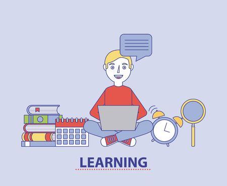 Student boy using laptop books calendar and clock learning education vector illustration 일러스트