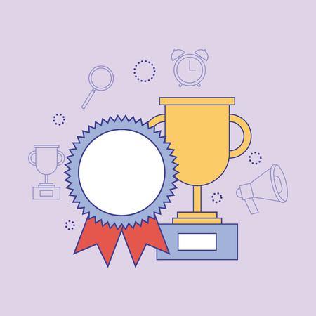 School trophy rosette medal award learning education vector illustration