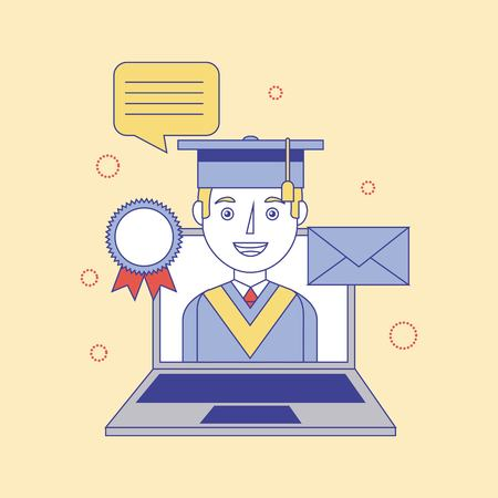graduate boy in laptop medal email learning education vector illustration Ilustrace