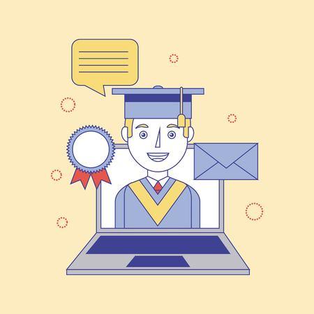 graduate boy in laptop medal email learning education vector illustration Ilustração
