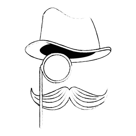 Hat with glasses and mustache hipster style vector illustration design.