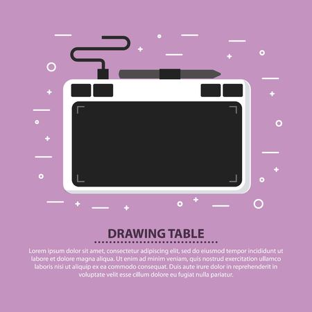 Designer drawing table pen digital device vector illustration