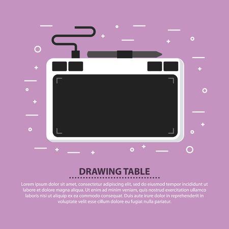Designer drawing table pen digital device vector illustration
