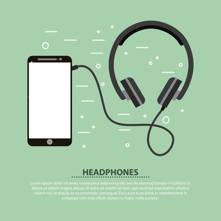 Smartphone and headphones music sound vector illustration
