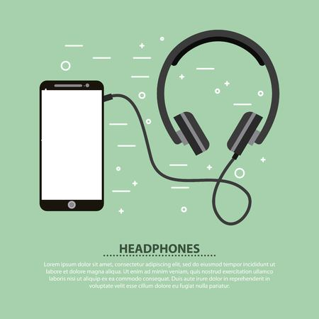 Smartphone and headphones music sound vector illustration