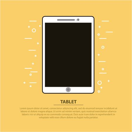 Tablet computer device digital wireless vector illustration