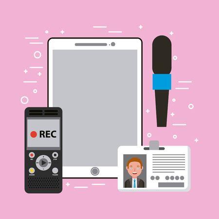Journalist apparatuur mobiele telefoon microfoon spraakrecorder id-kaart vectorillustratie