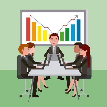 meeting business people teamwork office working board presentation vector illustration Stock Illustratie