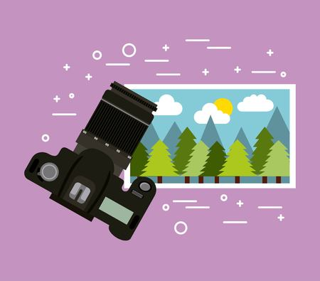 photographic camera picture gallery image vector illustration